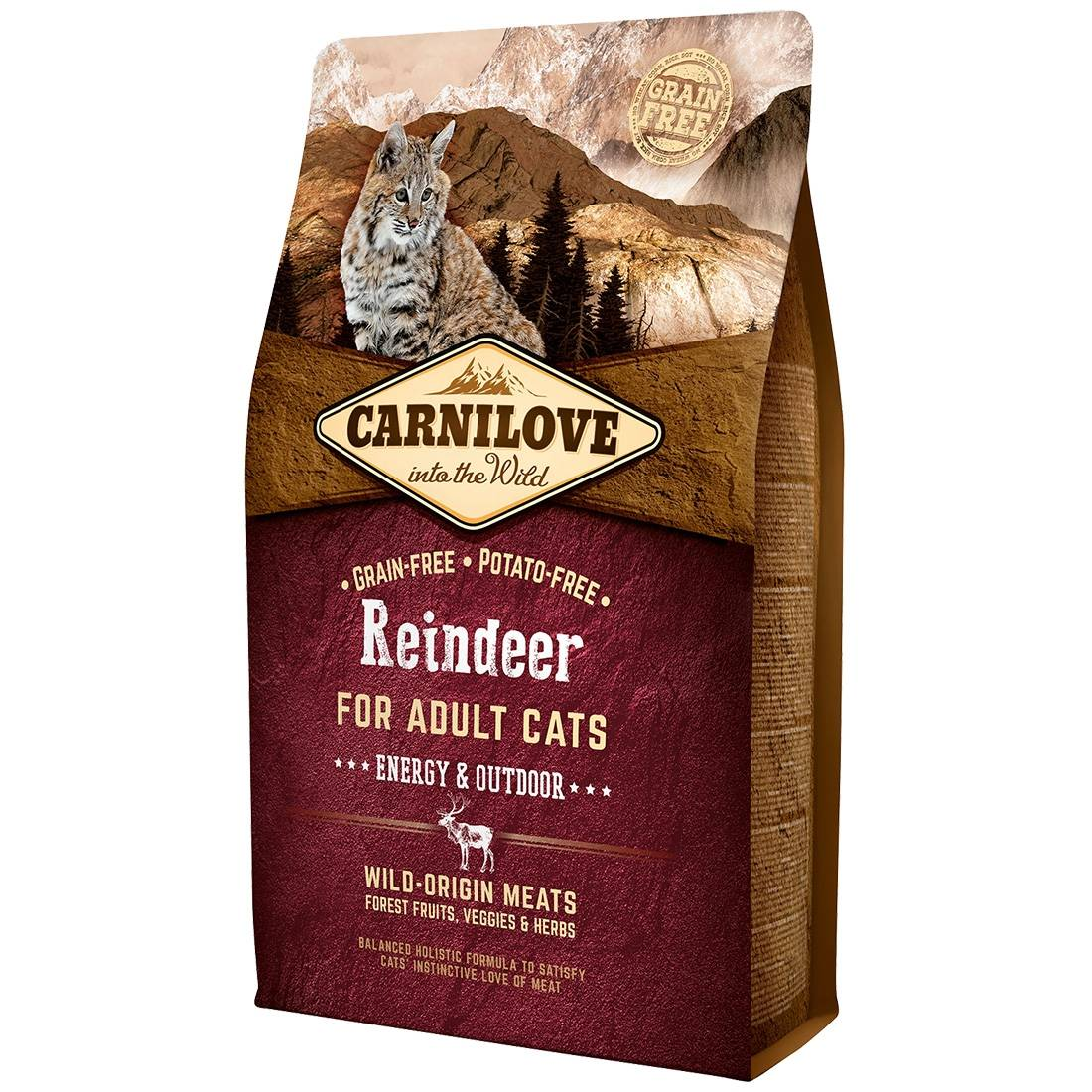 Carnilove Croquettes chat CARNILOVE Adult Energy & Outdoor Reindeer Contenance : 6 kg