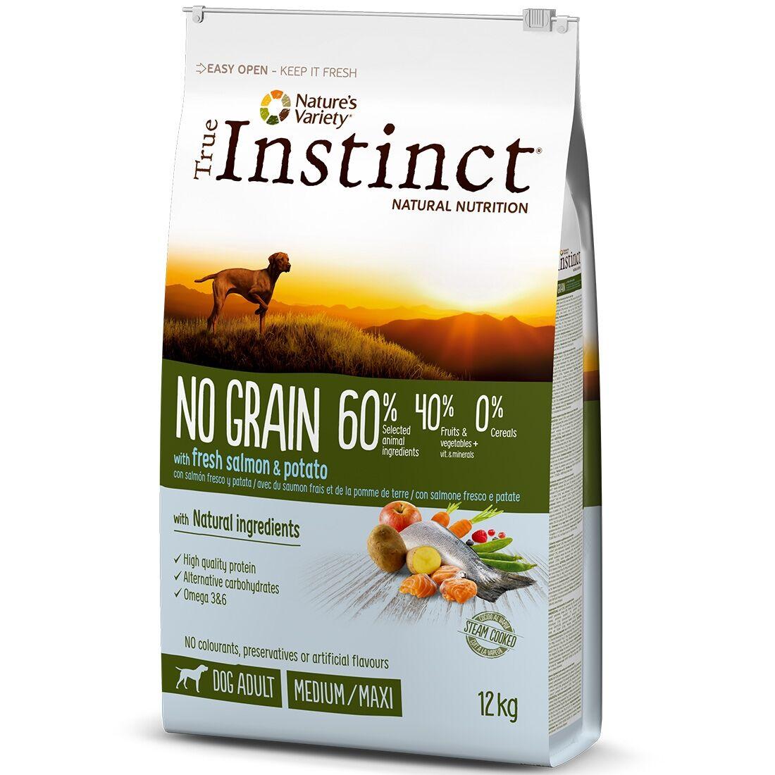 True Instinct Croquettes chien True Instinct No Grain Medium Maxi Adult Salmon Contenance : 12 kg