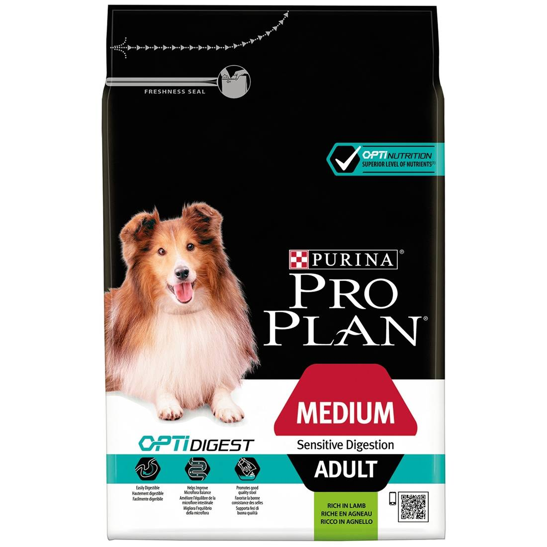 PRO PLAN Medium Adult Sensitive Digestion OptiDigest à l'agneau Contenance : 14 kg