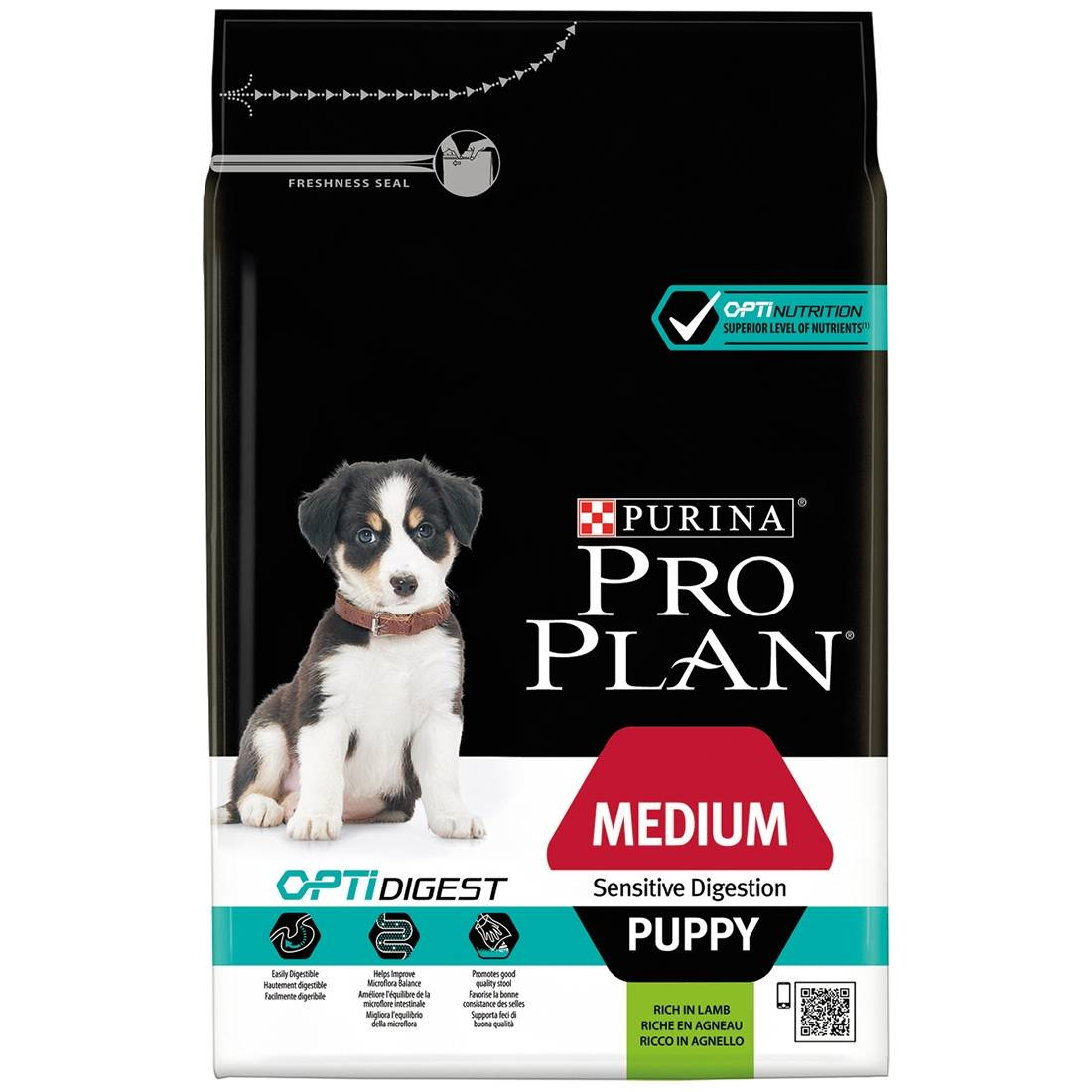 PRO PLAN Medium Puppy Sensitive Digestion OptiDigest à l'agneau Contenance : 3 kg