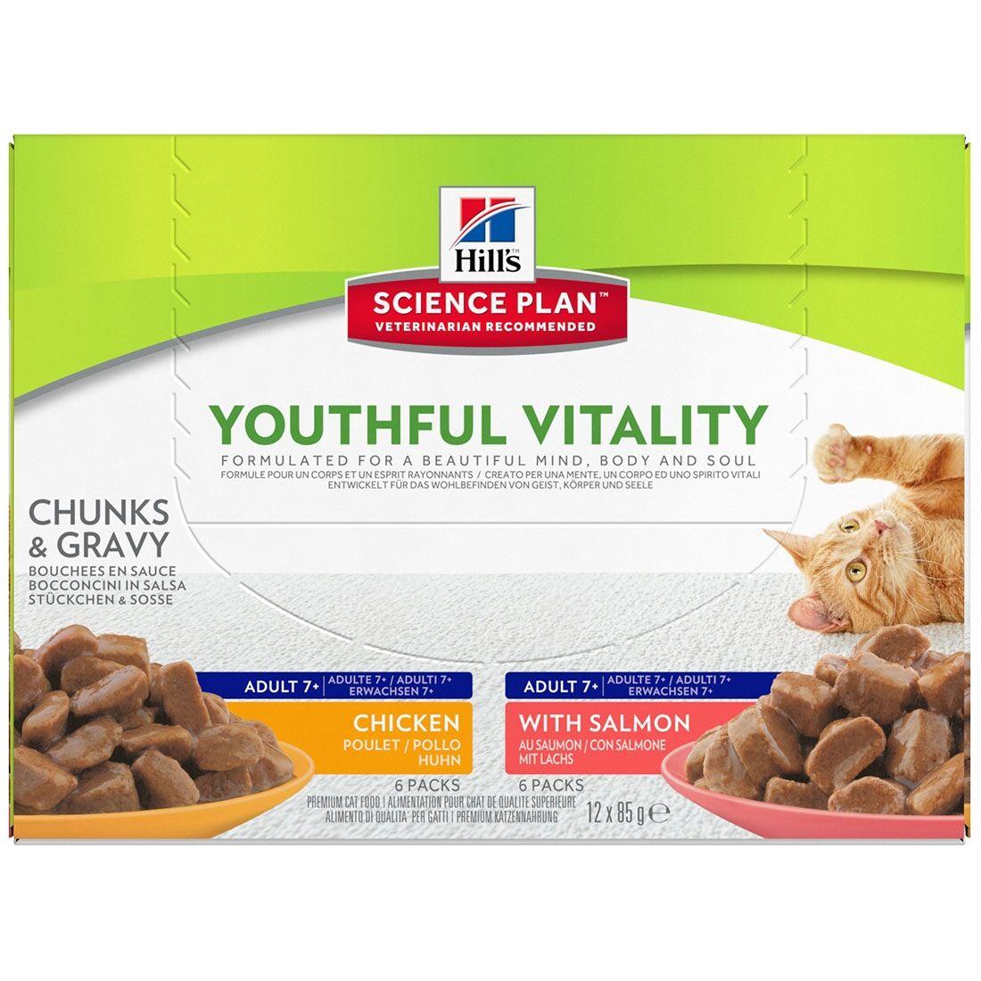 Hill's Science Plan Sachets Repas Hill's Science Plan Youthful Vitality Feline Mature Adult Contenance : 12 sachets de 85 g, Saveur : 6 x Chicken + 6 x Salmon
