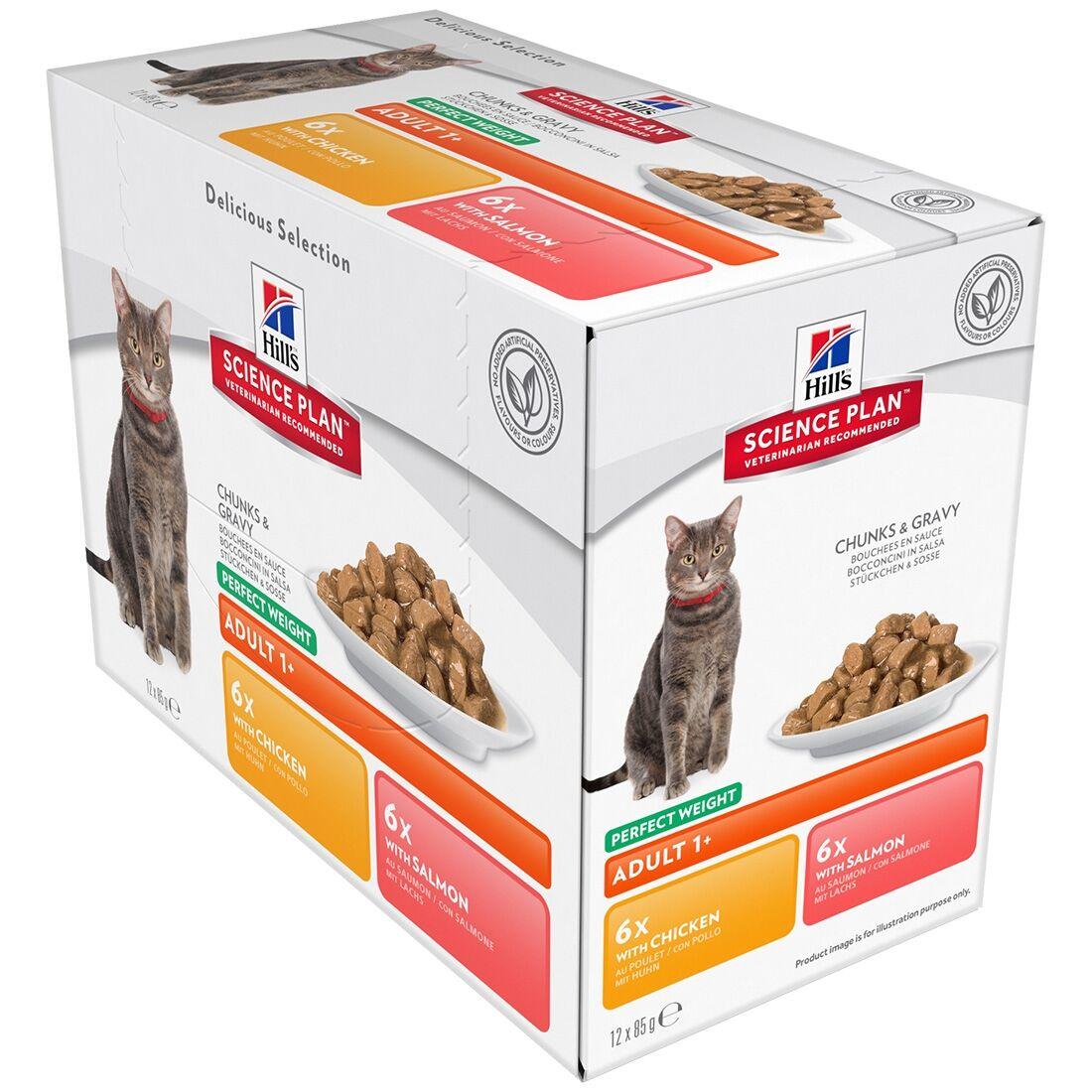 Hill's Science Plan Sachets Repas Hill's Science Plan Feline Perfect Weight Adult Contenance : 12 sachets de 85 g, Saveur : 6 x Chicken + 6 x Salmon