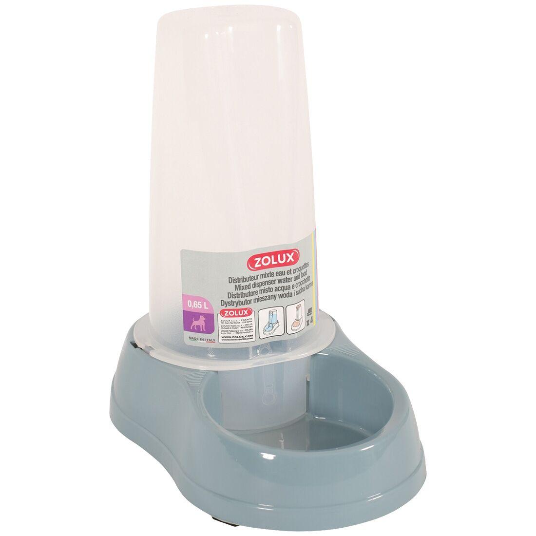 Stefanplast Distributeur mixte d'eau ou de croquettes antidérapant bleu acier Contenance : 0,65 l