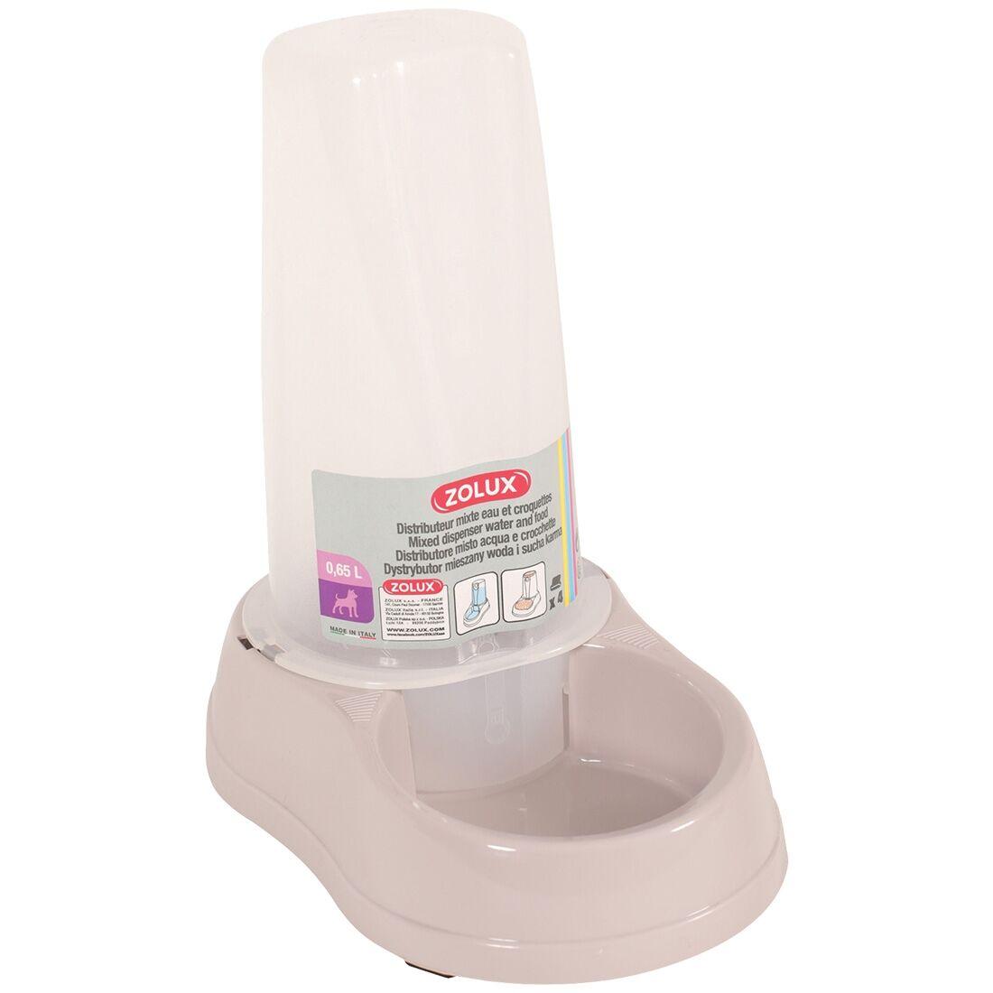 Stefanplast Distributeur mixte d'eau ou de croquettes antidérapant rose poudré Contenance : 0,65 l