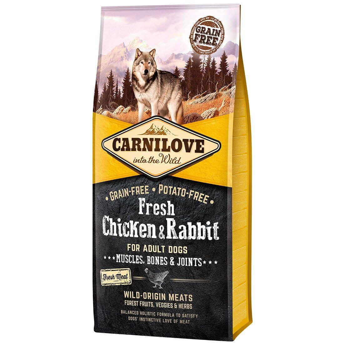 Carnilove Croquettes chien CARNILOVE Adult Fresh Chicken & Rabbit Contenance : 1,5 kg