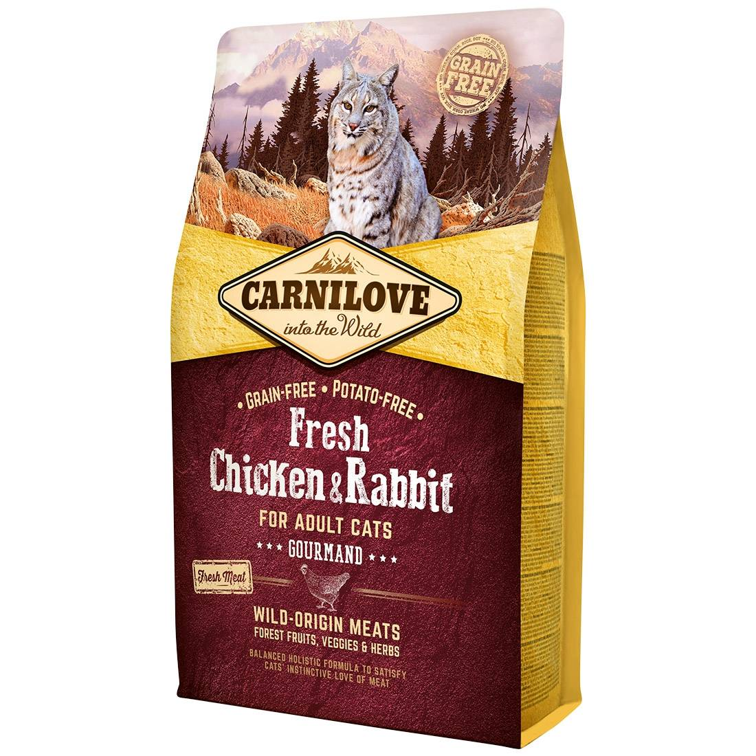 Carnilove Croquettes chat CARNILOVE Adult Gourmand Fresh Chicken & Rabbit Contenance : 6 kg