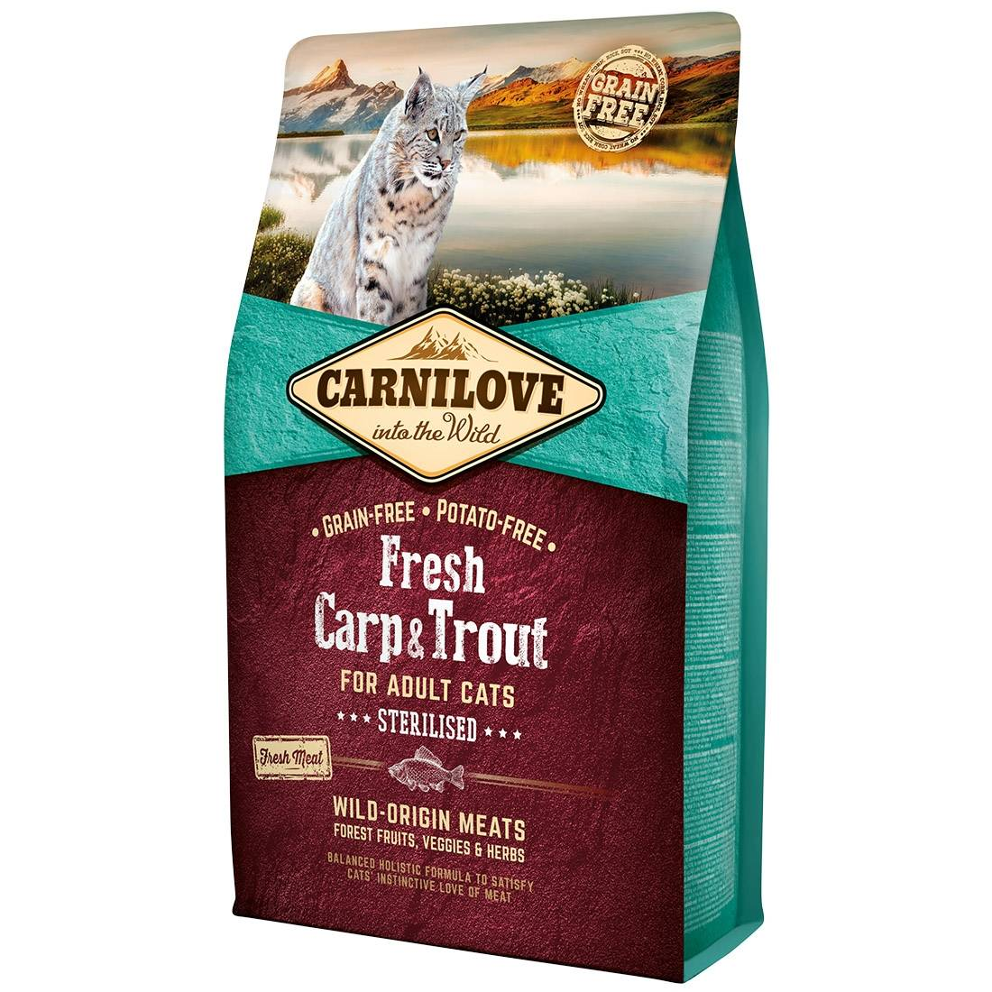 Carnilove Croquettes chat CARNILOVE Adult Sterilised Fresh Carp & Trout Contenance : 400 g