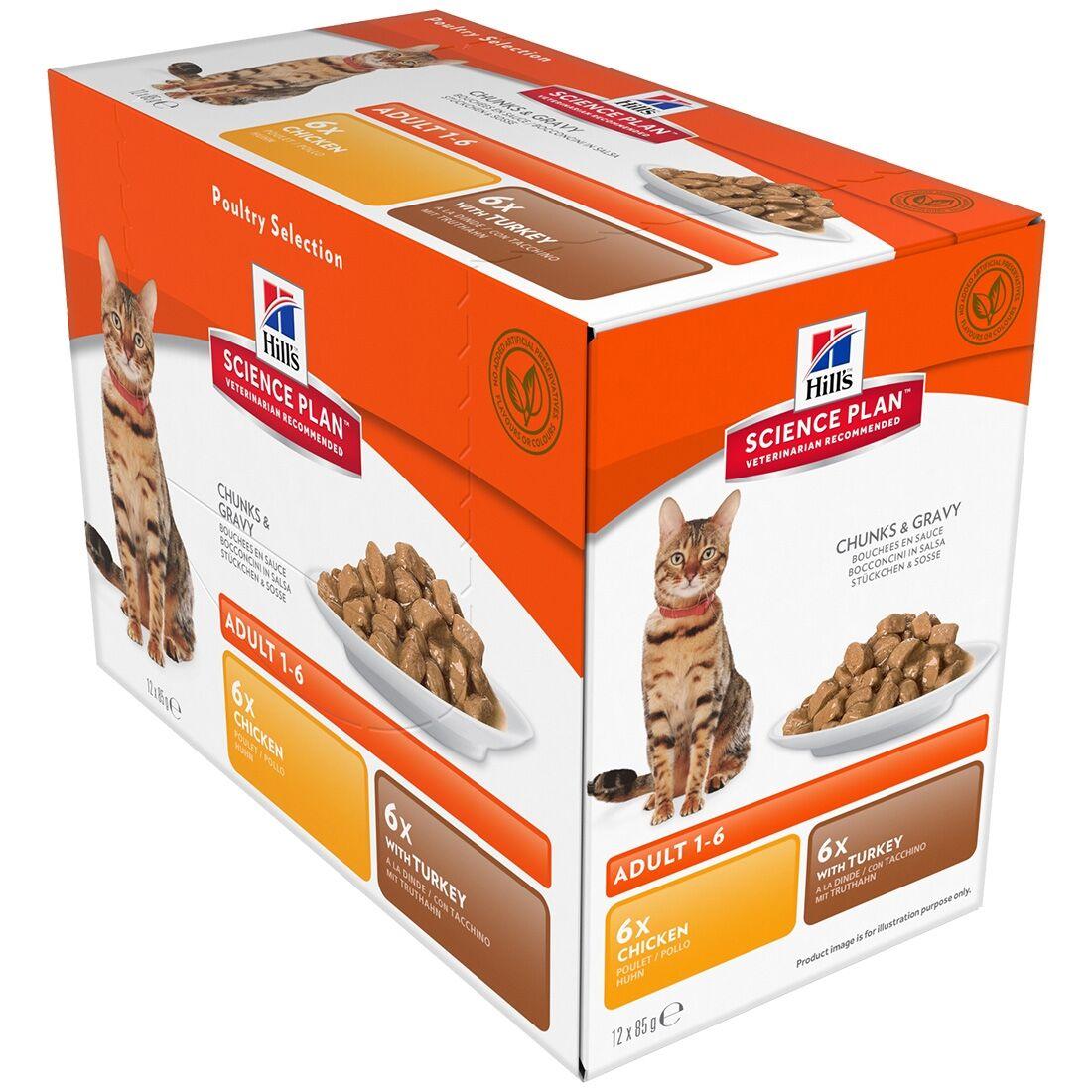Hill's Science Plan Sachets repas Hill's Science Plan Adult Contenance : 12 sachets de 85 g, Saveur : 6 x Chicken + 6 x Turkey