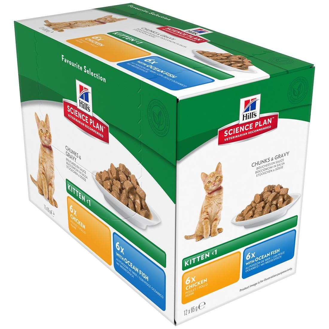 Hill's Science Plan Sachets repas Hill's Science Plan Kitten Contenance : 12 sachets de 85 g, Saveur : 6 x Chicken + 6 x Ocean Fish