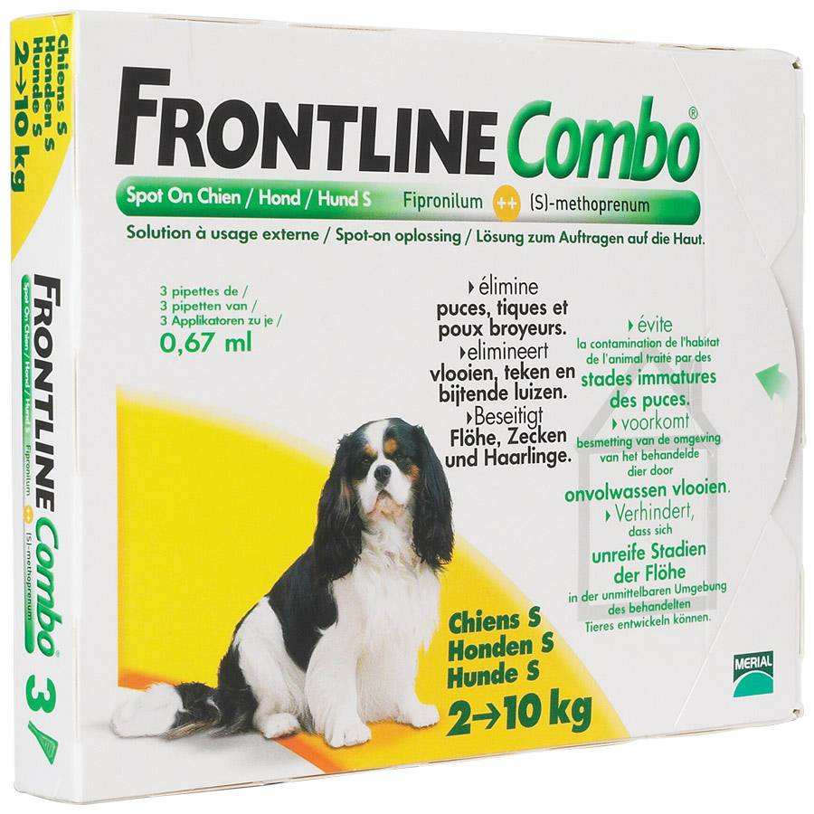 Merial Frontline Combo chiens de 2 kg à 10 kg Contenance : 3 pipettes