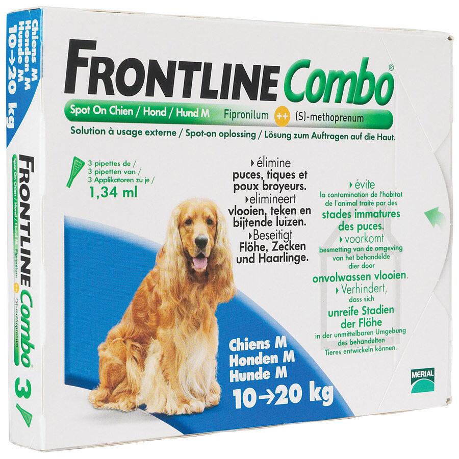 Merial Frontline Combo chiens de 10 kg à 20 kg Contenance : 3 pipettes