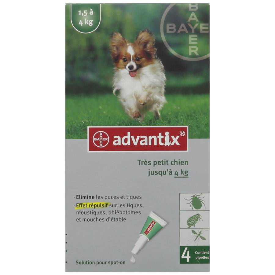 Bayer Advantix Très Petit Chien de 1,5 kg à 4 kg Contenance : 4 pipettes