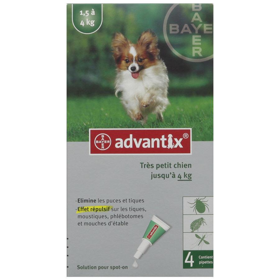 Bayer Advantix Très Petit Chien de 1,5 kg à 4 kg Contenance : 6 pipettes