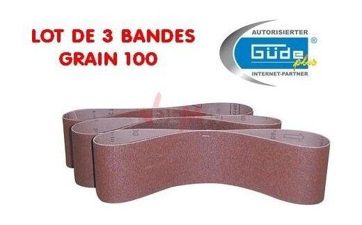 Guede Bandes abrasives K100 pour ponceuse à bande lot de 3 - pour G55135