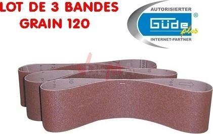 Guede Bandes abrasives 120 pour ponceuse à bande lot de 3 - pour G55135