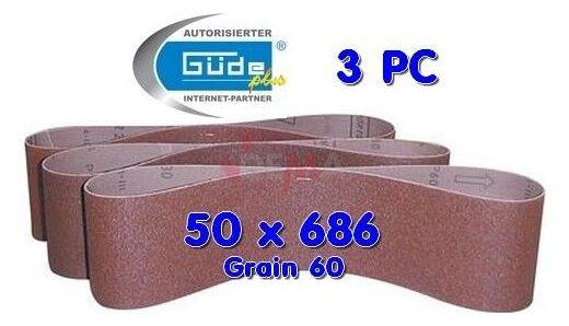 Guede Bande abrasives 50 X 686 grain 60 pour ponceuse G55108 - lot de 3
