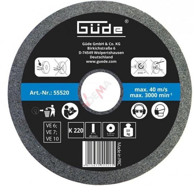 Guede Meule abrasive pour touret 200 x 40 mm - grain 220
