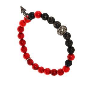 Bootleggers Bracelet homme perles rouge élastique (argent), Bootleggers Bootleggers