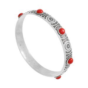 Jollia Bracelet jonc gravé et pierres (rouge/argenté)-L - Shabada - Publicité