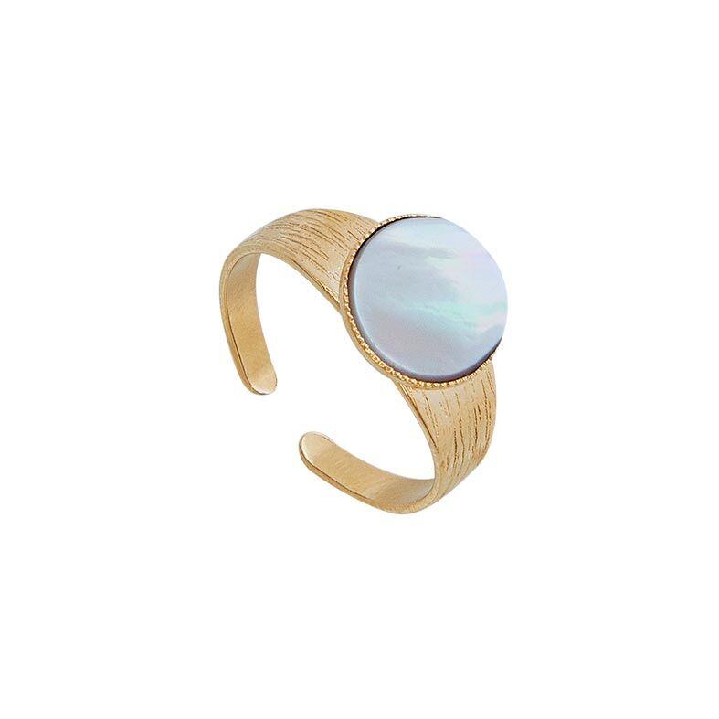 Jollia Bague pierre ronde nacre (plaqué or) - Viadoli