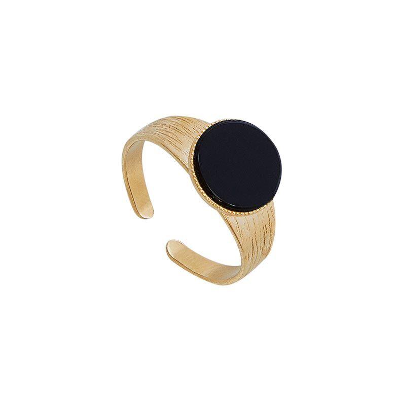 Jollia Bague pierre ronde agate noire (plaqué or) - Viadoli
