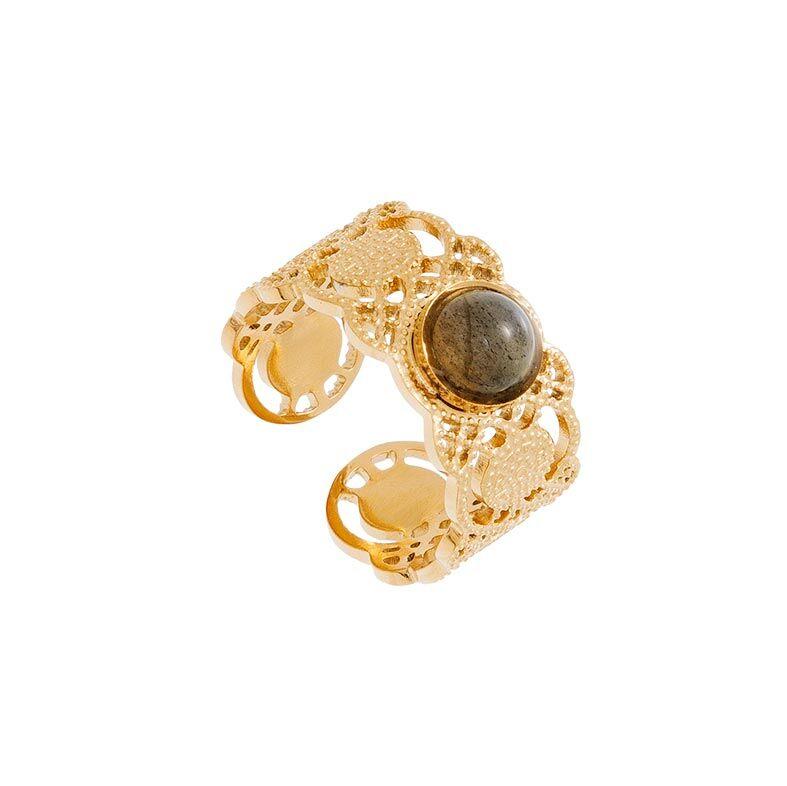Jollia Bague dentelle et pierre labradorite (doré) - Siloé