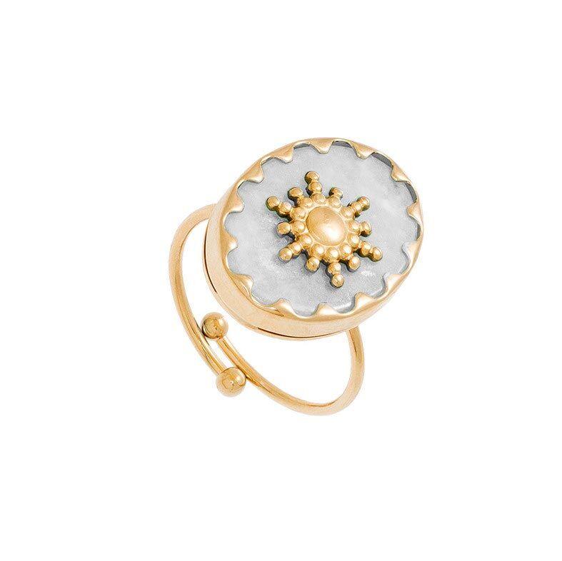Jollia Bague pierre ovale et soleil (quartz blanc) - Siloé