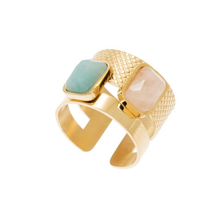 Jollia Bague large pierres rectangles (amazonite/quartz rose) - Zag Bijoux