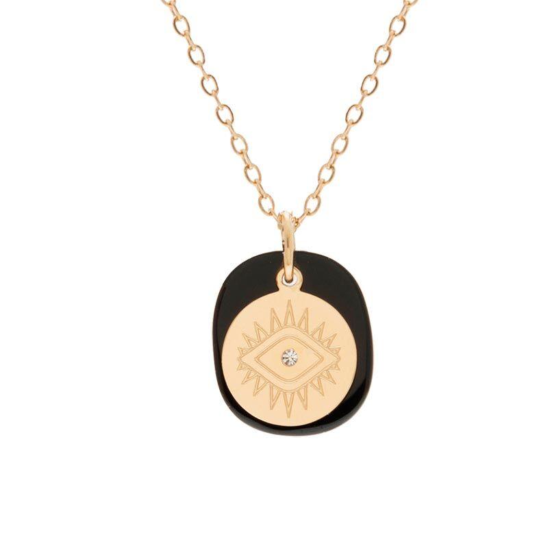 Jollia Collier double médaille noir et oeil (doré) - Zag Bijoux