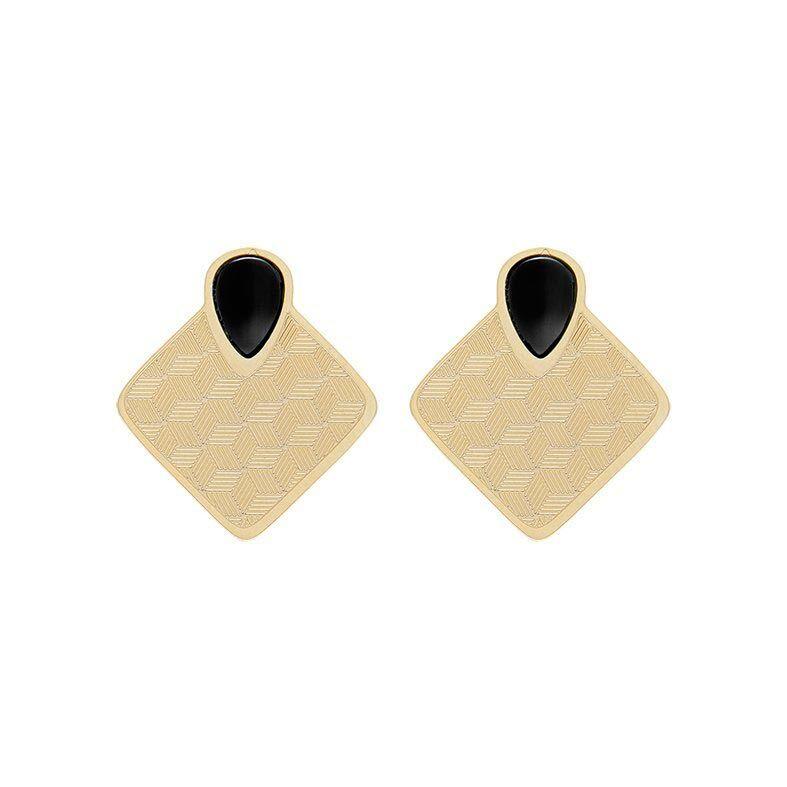 Jollia Boucles d'oreilles carré graphique Sienna (doré/noir) Aurélie Joliff - Aurélie Joliff