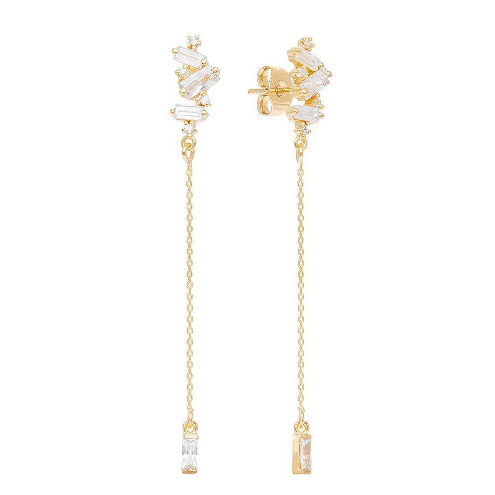 Jollia Boucles d'oreilles longues cristal et chaine - Une A Une