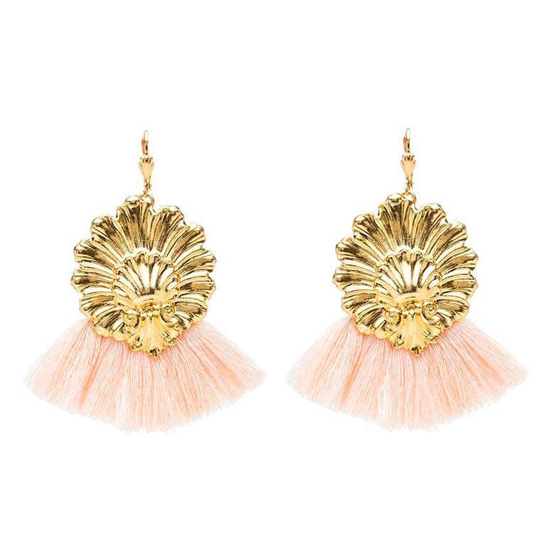 Charly James Boucles d'oreilles texturée et pompons (rose clair), Charly James Charly James