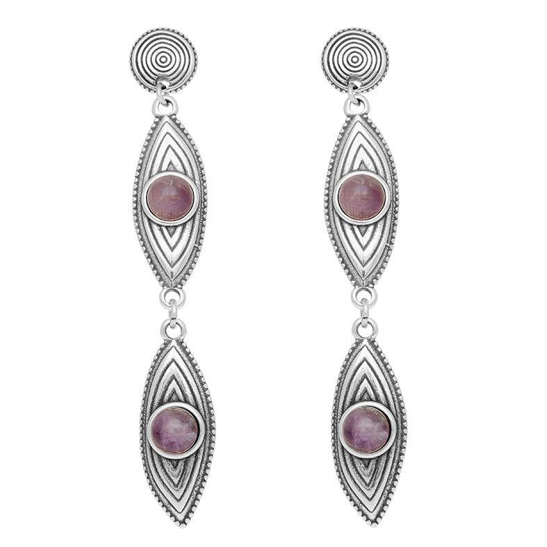 Jollia Boucles d'oreilles double amandes et pierre (améthyste) - Shabada