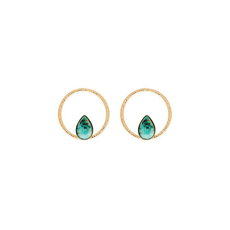 Jollia Boucles anneau et pierre jaspe africain (doré) - Aurélie Joliff