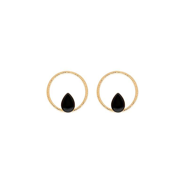 Jollia Boucles anneau et pierre agate noire (doré) - Aurélie Joliff