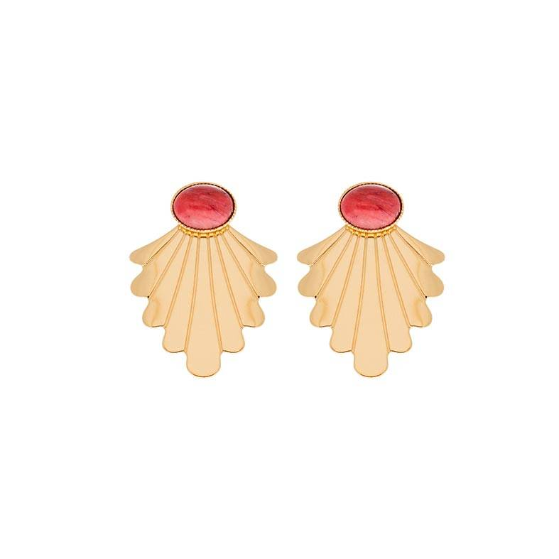 Jollia Boucles d'oreilles coquillage rhodonite (doré) - Aurélie Joliff