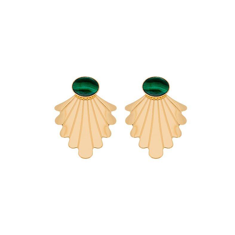 Jollia Boucles d'oreilles coquillage malachite (doré) - Aurélie Joliff