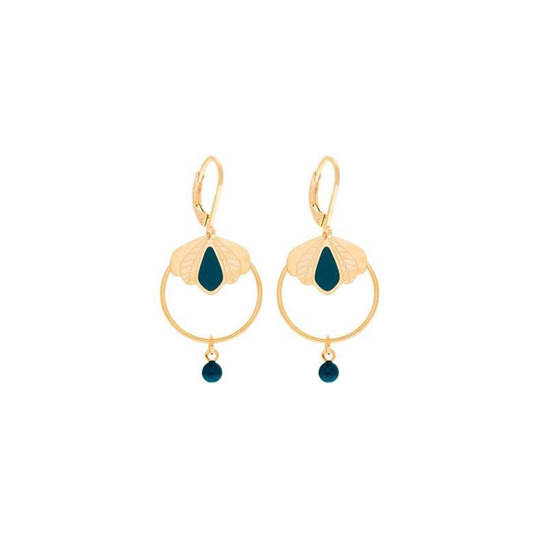 Jollia Boucles d'oreilles mini créole émaillées (bleu canard) - Aurélie Joliff