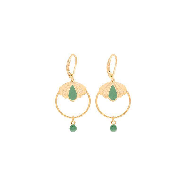 Jollia Boucles d'oreilles mini créoles émaillées (vert amande) - Aurélie Joliff