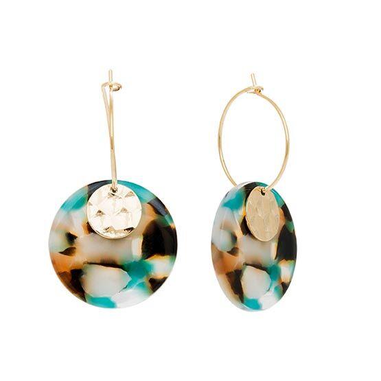 Jollia Boucles créoles pendentif acétate (bleu/marron) - Viadoli