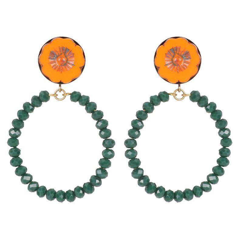 Julie Sion Boucles créoles fleur et perles (orange/vert), Julie Sion  Julie Sion