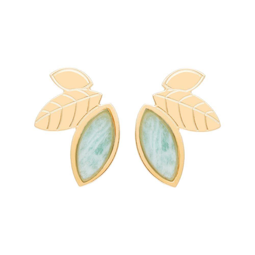 Jollia Boucles earcuff feuilles et pierre (amazonite) - Aurélie Joliff
