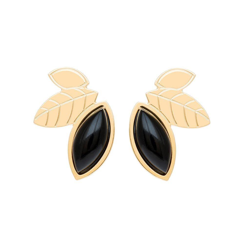 Jollia Boucles earcuff feuilles et pierre (agate noire) - Aurélie Joliff