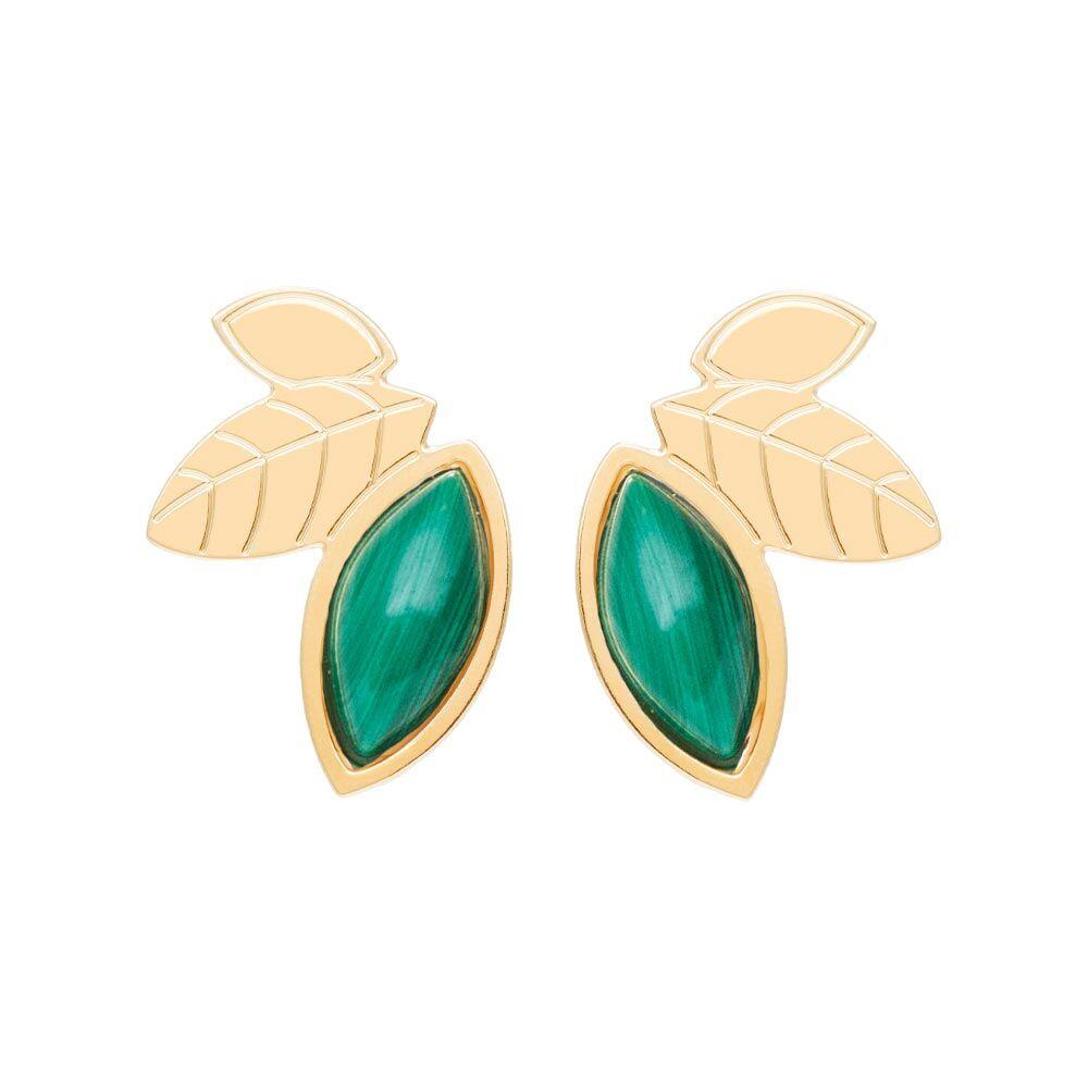 Jollia Boucles earcuff feuilles et pierre (malachite) - Aurélie Joliff