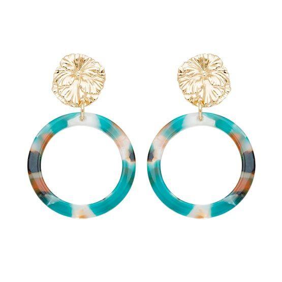 Jollia Boucles d'oreilles cercle acétate et fleur (bleu/marron) - Viadoli
