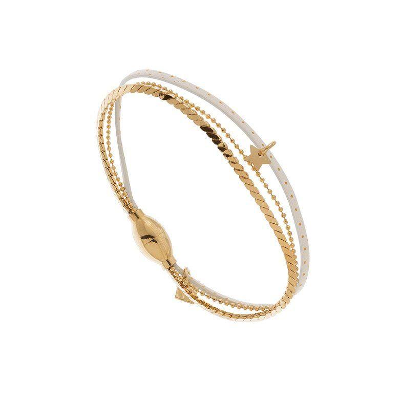 Jollia Bracelet multiliens et chaîne pour enfant (blanc/plaqué or) - Flowers for Zoé