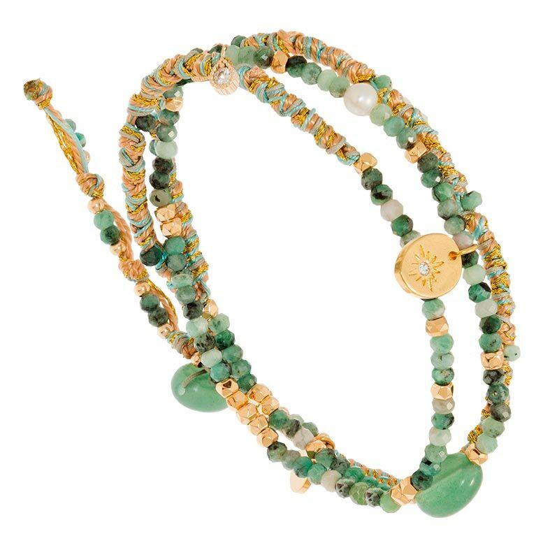 Jollia Bracelet multi-tours tissé breloques (turquoise africaine) - Belle mais pas que