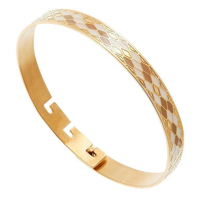 Zag Bijoux Bracelet jonc Nid d'Abeilles blanc/taupe (doré), Zag Bijoux Zag Bijoux
