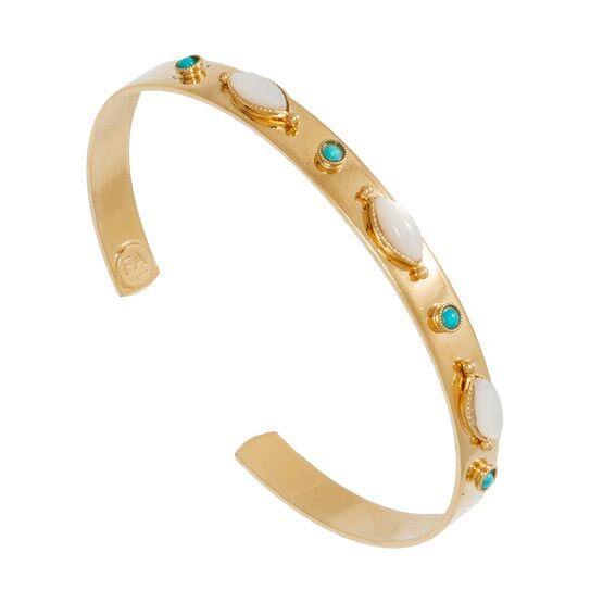 Jollia Bracelet jonc pierres amandes (nacre/turquoise) - Les Folies d'Agnès