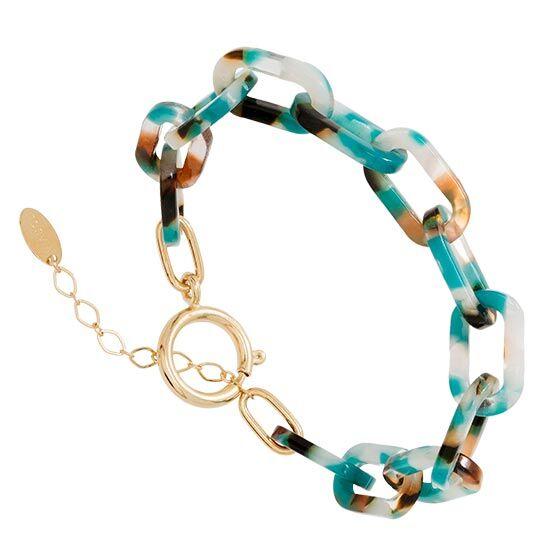 Jollia Bracelet maillons acétate (bleu/marron) - Viadoli